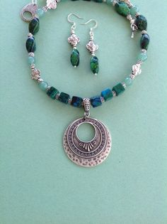 One of a kind pendant necklace teal chrysocola by JayRossiDesigns