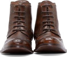 H by Hudson Brown Wingtip Angus Boots