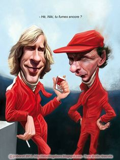 "Caricature of James Hunt and Niki Lauda. Not related to the film ""Rush"" but to another project I have."