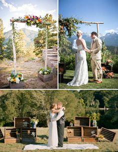 Cajas de madera vintage en tu boda. Altar