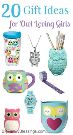 20 awesome gift ideas for owl loving girls. Great shopping ideas for preteen or teen girls obsessed with owls. Owl decor, owl accessories and more owl products.