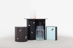 DECHEM_Interior collection of postmodern inspired furniture and glass vases