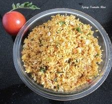 Spicy Tomato Rice or Spicy Masala Rice is very delicious rice recipe, which is also easy to make. This is a dish, which my mom makes often whenever there is some leftover rice. She also makes this during times when we have sudden hunger pangs and want something spicy to eat