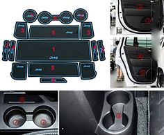 Cup Holder Mat Moonet Heavy Duty Non Slip Interior Door Mats Fit 2017 2016 Jeep Comp Patriot White With Luminous Glow In The Dark
