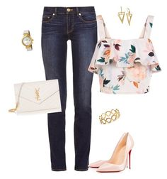"""""""Happy Friday!!"""" by liz-chirinos-godoy on Polyvore featuring Tory Burch, New Look, Christian Louboutin, Yves Saint Laurent, OMEGA and Pernille Corydon"""