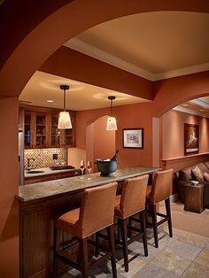 Dark Orange Kitchen bright orange kitchen walls with dark stained cabinets | paint it