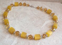 Golden Beaded Necklace Moonglow Cubes 20 Inch Silver Tone Metal Vintage 080914MN by cutterstone on Etsy