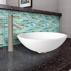 Phoenix Flat Edged Stone Glass Vessel Bathroom Sink and Dior Faucet Set