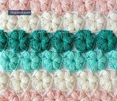 Crochet Flower Puff Stitch Tutorial - (mypicot) ༺✿ƬⱤღ  http://www.pinterest.com/teretegui/✿༻
