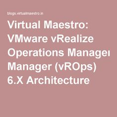 Virtual Maestro: VMware vRealize Operations Manager (vROps) 6.X Architecture