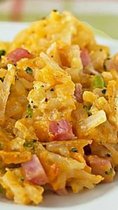 Broccoli Cheddar Hashbrown Casserole with Ham ~ It's SO creamy and delicious!