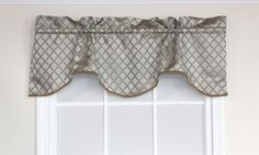 George Bravo Valance in mist is embraced by a beautifully woven diamond pattern accentuated with gold threads.| RLF Home