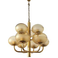 German 1970's High Style Glass Chandelier