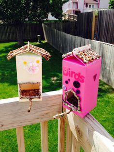 Milk carton bird feeders. All from junk hanging around the house. Upcycling at it's finest. Summer toddler craft. Bring on the birds.