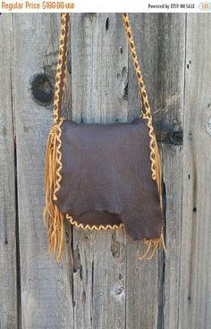 ON SALE Buckskin possibles bag , Fringed leather handbag , Crossbody leather handbag , Mountain man bag