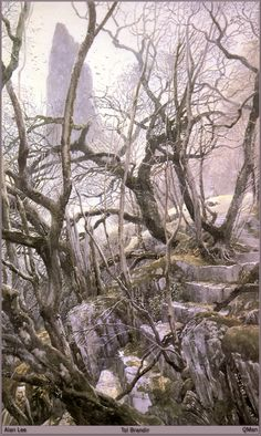 for real. this looks like a 'walk in the woods', but it has a very eerie element to it! Alan Lee, Tolkien, Fantasy World, Fantasy Art, Das Silmarillion, Fantastic Voyage, Landscape Illustration, Fantasy Landscape, Environmental Art