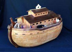 Planos-de-madeira-para-a-construcao-circunstanciada-Noah-039-s-Ark-com-dezenas-de-pessoas-e-animais