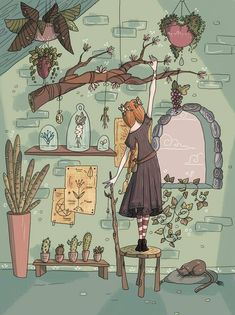 Mya the Herb Witch by RamylieDouglas on DeviantArt Art And Illustration, Wicca, Witch Aesthetic, Aesthetic Art, Fantasy Kunst, Fantasy Art, Pretty Art, Cute Art, Witch Art