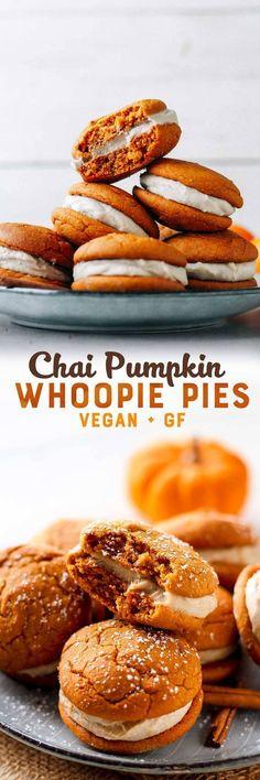 Chai Pumpkin Whoopie Pies (Vegan + GF) Pumpkin Chai Whoopie Pies Chai Pumpkin Cake with MaWhoopie PiesChocolate Whoopie Pies. Vegan Dessert Recipes, Köstliche Desserts, Baking Recipes, Gf Recipes, Vegan Thanksgiving Desserts, Coconut Desserts, Cookie Recipes, Vegetarian Recipes, Vegan Treats