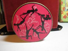 Gorgeous 1920's  art deco face powder box pink with by puffadonna, $49.00