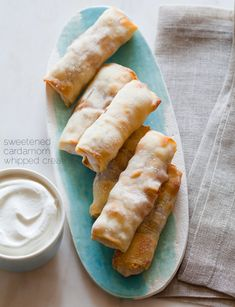 baked apple pie egg rolls...who would have thought to use egg roll wrappers to make these.