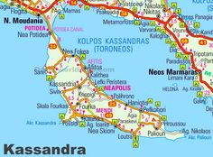 Kassandra road map Greece Map, Maps, Holidays, Vacations, Holidays Events, Blue Prints, Holiday, Peta, Map