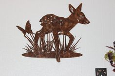 Deer Fawn with Butterfly Metal Wall Art Country Rustic Home Decor Measures Approx: x (Inches) Hand Made in the USA from High Qualit… Metal Butterfly Wall Art, Metal Wall Art, Rustic Western Decor, Rustic Wall Art, Animal Silhouette, Forest Animals, Country Girls, Art Images, Metal Working