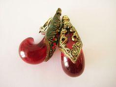 VINTAGE PLASTIC EARRINGS Ruby Red by VintageSweetpeasoup on Etsy, $14.00