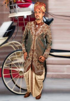 Buy Dark Gray Brocade Readymade Indo Western Sherwani 204369 online at lowest price from our mens wear collection at Indianclothstore.com. Western Union Money Transfer, Wedding Sherwani, How To Dye Fabric, Color Shades, Lehenga Choli, Snug, Westerns, Tights, Menswear
