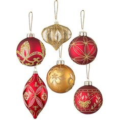 Improvements 6 Piece Burgundy and Gold Christmas Ornament Set ($40) ❤ liked on Polyvore featuring home, home decor, holiday decorations, christmas decor, christmas ornaments, christmas tree decorations, filler, indoor christmas decor, gold home decor and hand ornaments