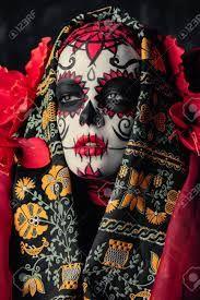 A portrait of Calavera Catrina. Day of The Dead. Sugar Skull Makeup, Alexander Mcqueen Scarf, Halloween Face Makeup, Superhero, Portrait, Fictional Characters, Cake Decorating, Google, Design
