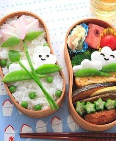 Flower bento! So cute! Bentos are amazing to pack healthy things into :) very sneaky :P