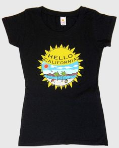 """""""California Tee.""""  Women's graphic tee. Celebrate California's sunny skies, sandy beaches and scenic mountains by wearing this gorgeously designed vibrant black t-shirt."""