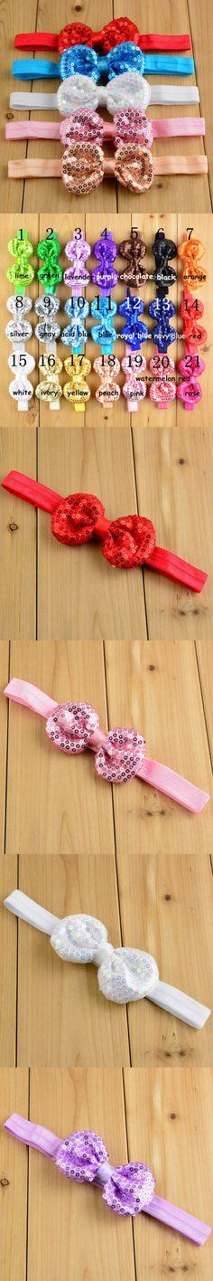 Free shipping, 40 pcs/lot shiny sequined bow baby headband