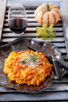 Perfect pumpkin risotto - I have made this many times and it is just wonderful - I'm vegan so I use Nuttelex vegetable spread and omit any cream or cheese. It really doesn't need it - my best version used organic gin instead of wine to deglaze the rice