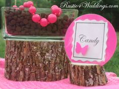 Rustic 4 Weddings: Rustic Pink Wedding Candy Buffet Card Holders And DIY Wedding Candy Buffet Labels