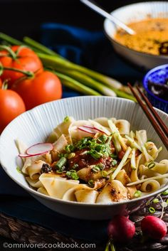 Biang Biang Noodles - With a spoonful of savory seasoned soy sauce and fresh, nutty hot sauce, the thick and meaty handmade noodles will bring you to foodgasm!   omnivorescookbook.com