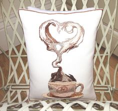 Coffee Love  Artistic Embroidery  Throw Cushion by LMDSimplyBe,