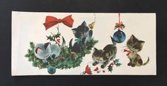 Kittens Playing w/ Christmas Ornaments Vintage Hawthorne Sommerfield Card | eBay