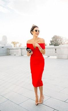 off-the-shoulder red midi wedding guest dress / http://www.himisspuff.com/wedding-guest-dress-ideas/2/