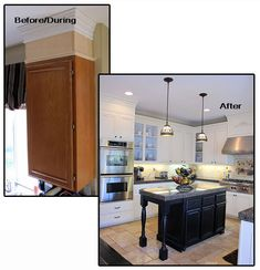 The Secret to Having it All.: Crown Molding {Kitchen Cabinet Re-do} Kitchen Redo, Kitchen Remodel, Kitchen Design, Kitchen Ideas, Kitchen Updates, Kitchen Island, Kitchen Makeovers, Kitchen Tips, Crown Moulding Kitchen Cabinets