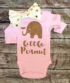 awesome Elephant Onesie, Little Peanut Onese, Baby Girll Onesie, Girls Shirt,Baby Girl Clothes, Onesies, Onesie For Baby by www.polyvorebydan...