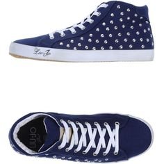 Liu •jo Girl High-tops & Trainers ($89) ❤ liked on Polyvore featuring shoes, sneakers, dark blue, studded sneakers, round cap, dark blue shoes, round toe flat shoes and round toe sneakers