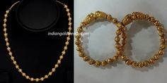 Latest Indian Gold and Diamond Jewellery Designs: Antique Gold Balls mala and Kadas