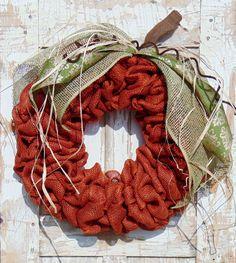 Fall Burlap Pumpkin Wreath - pinned by pin4etsy.com