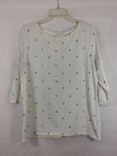 TALBOTS Size L Large 3/4 Sleeve Stretch Tee Womens Cotton Spandex Acorn Dot EUC #Talbots #Tee #Casual