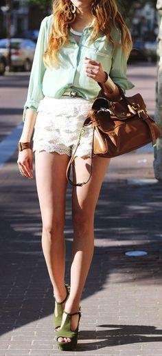 Mint blouse & Lace shorts...super cute!!