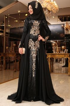Starry Nights Royal Gown - Black / Final Stock with limited stock. New Stylish Dress, Stylish Dress Designs, Stylish Dresses, Fashion Dresses, Arab Fashion, Islamic Fashion, Muslim Fashion, Fancy Dress Design, Muslim Dress