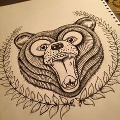 Tattoo inspired Bear face drawing. Used to make a screen to print onto cushions.
