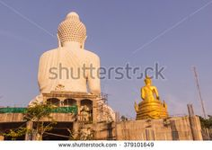 Back side view of Phuket big Buddha in evening at Phuket, Thailand - stock photo